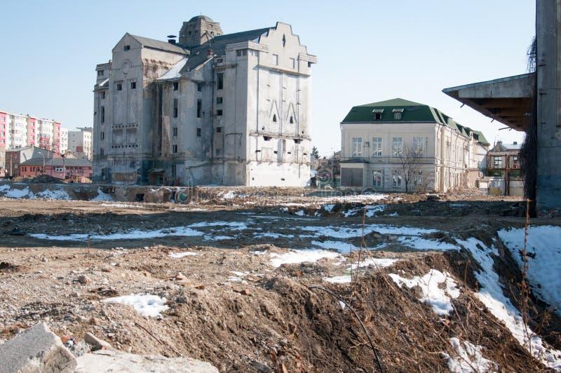 Sitio de demolición en Bucarest fotos de archivo libres de regalías