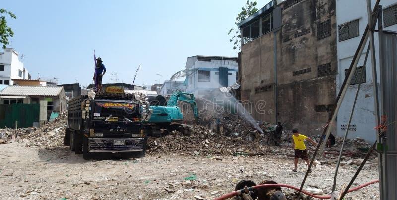 Sitio de demolición en la capital tailandesa Bangkok imágenes de archivo libres de regalías