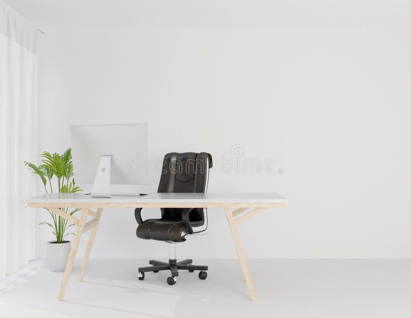 Sitio de funcionamiento interior de la oficina falso encima del espacio de la copia, representación 3d stock de ilustración