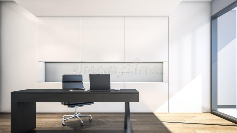 Sitio de funcionamiento moderno con la representación blanca gabinete/3D imágenes de archivo libres de regalías