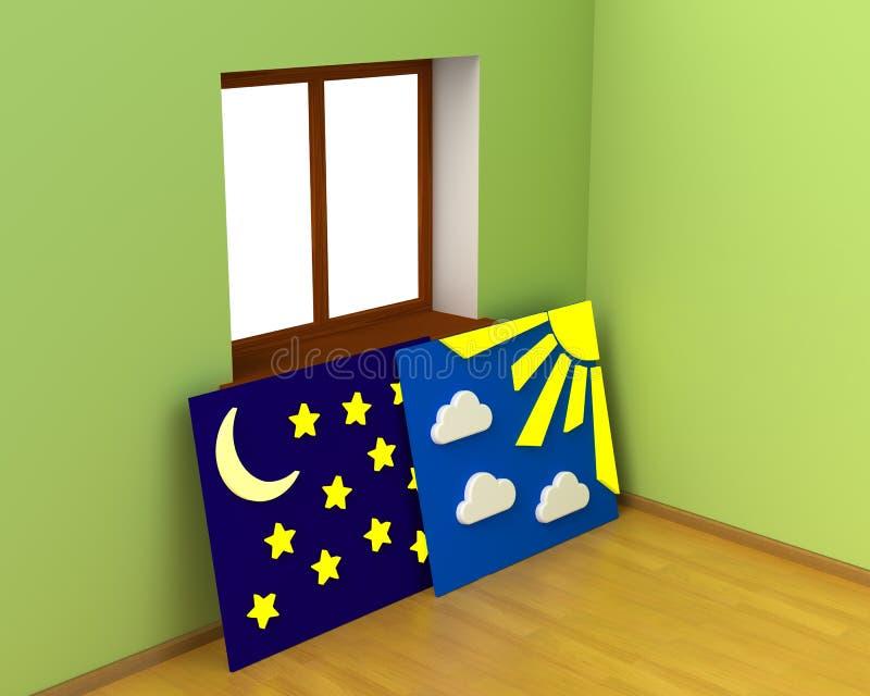 Sitio de hadas con la alternancia libre del día y de la noche stock de ilustración
