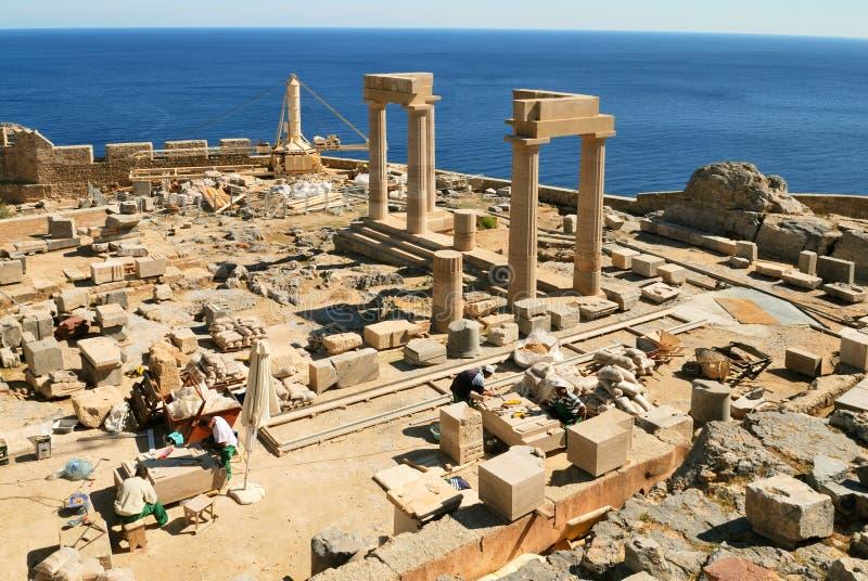 Sitio De La Arqueología En Lindos (Rodas) Fotos de archivo libres de regalías