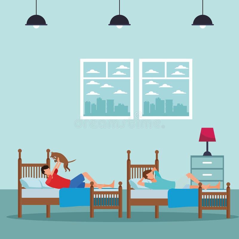Sitio de la cama individual y gente anónima ilustración del vector