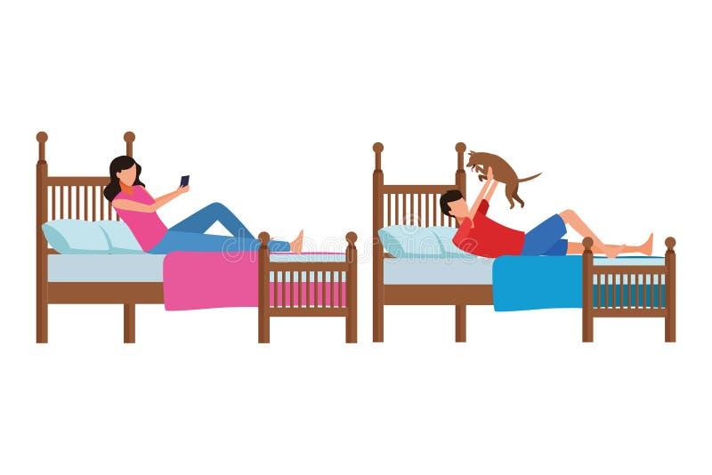 Sitio de la cama individual y gente anónima libre illustration