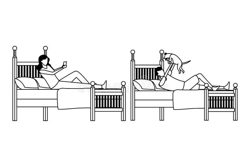 Sitio de la cama individual y gente anónima en blanco y negro stock de ilustración