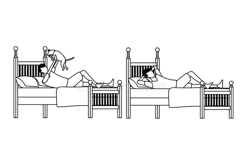 Sitio de la cama individual y gente anónima en blanco y negro ilustración del vector