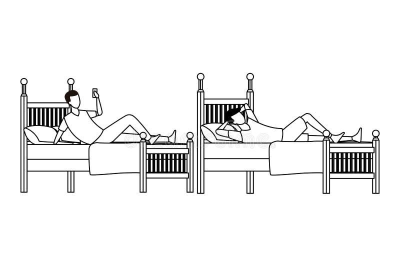Sitio de la cama individual y gente anónima en blanco y negro libre illustration