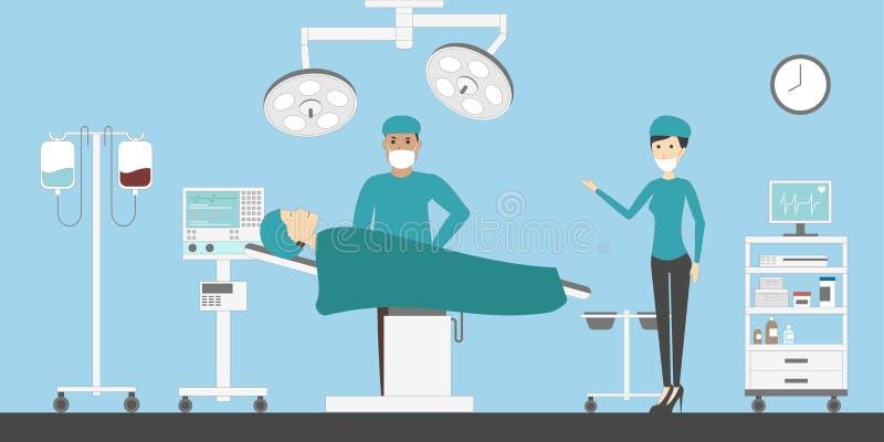 Sitio de la cirugía en hospital ilustración del vector
