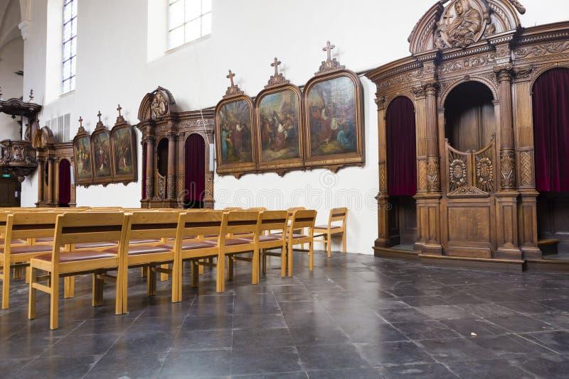 Sitio de la confesión de la iglesia de Kapucijnenkerk fotografía de archivo libre de regalías
