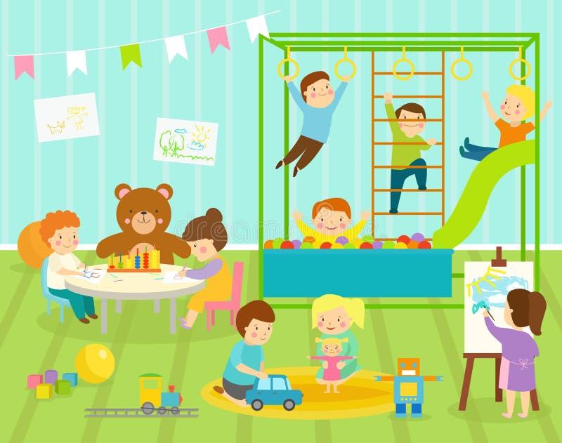 Sitio de la guardería del vector de los niños del muchacho con el oscilación grande de la diapositiva con la decoración ligera de libre illustration