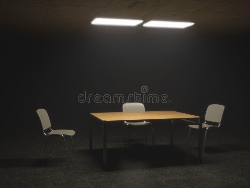 Sitio de la interrogación con las sillas y la tabla ilustración del vector