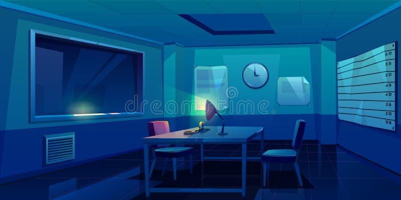 Sitio de la interrogación en interior de la comisaría de policía libre illustration