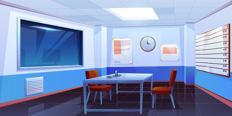 Sitio de la interrogación en interior de la comisaría de policía stock de ilustración