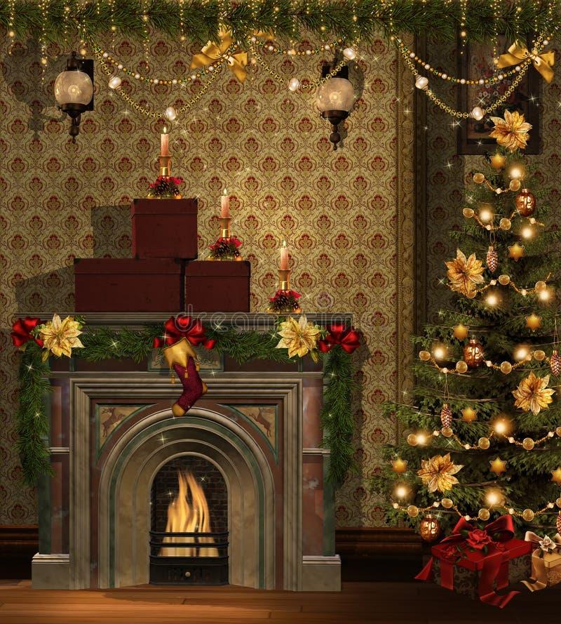 Sitio de la Navidad con las decoraciones de oro ilustración del vector