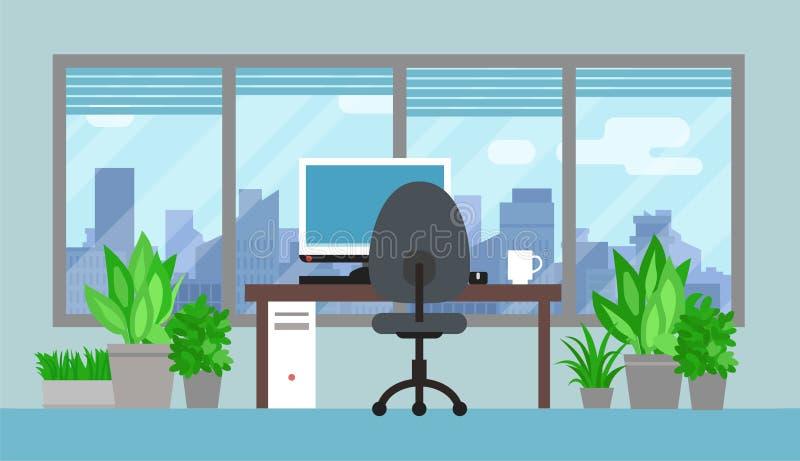 Sitio de la oficina con las plantas verdes stock de ilustración