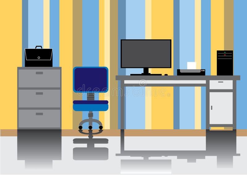 Sitio de la oficina con reflejo en el piso foto de archivo