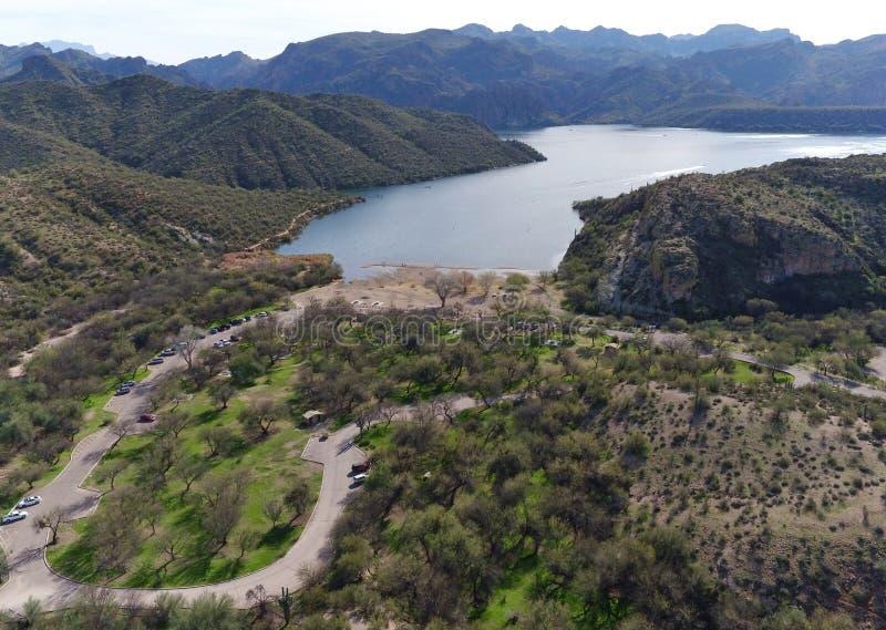 Sitio de la reconstrucción por el lago - visión panorámica imagen de archivo libre de regalías