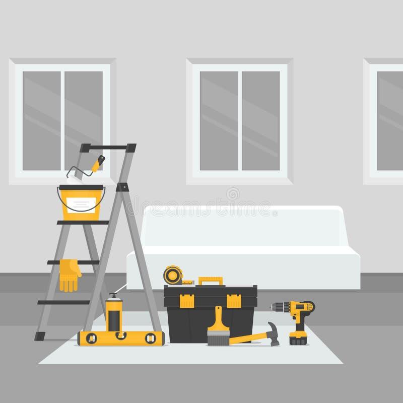 Sitio de la renovación Renovación interior casera Estilo plano, vector IL libre illustration