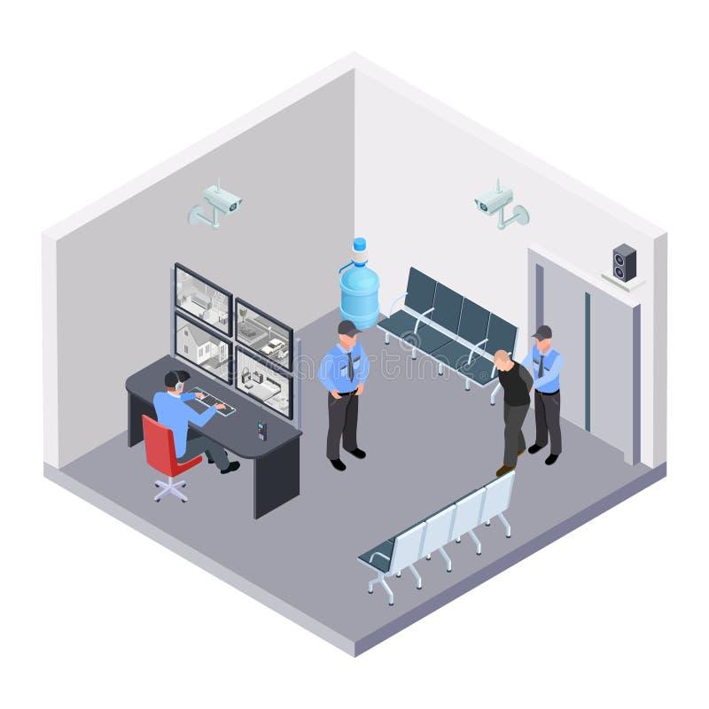 Sitio de la seguridad en concepto isométrico del vector del término del aeropuerto, del ferrocarril o de autobuses libre illustration