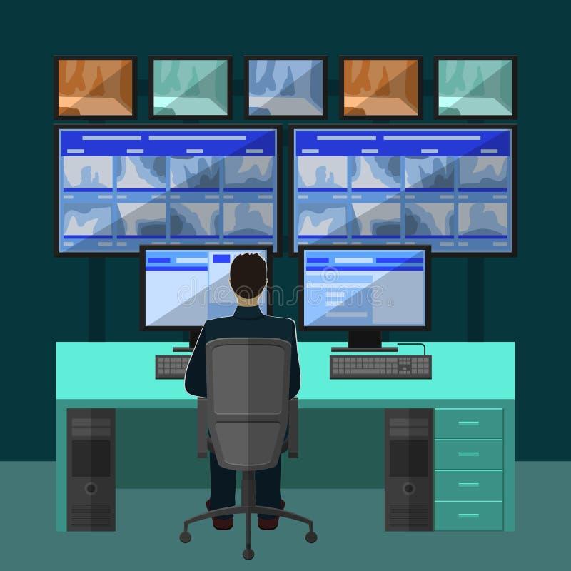 Sitio de la seguridad en el cual profesionales de trabajo libre illustration