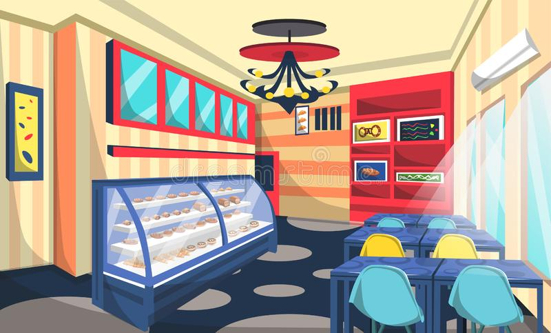 Sitio de la tienda de la panadería con la torta en Etalase, lámparas del techo, tabla azul, imagen artística de la pared, estilo  ilustración del vector