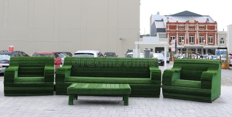 Sitio de lectura verde, ilustraciones públicas Christchurch NZ fotografía de archivo libre de regalías