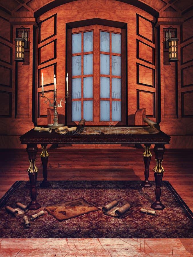 Sitio de madera con los mapas stock de ilustración