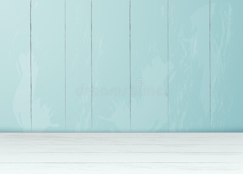 Sitio de madera del piso de la pared de ladrillo realista del vector stock de ilustración