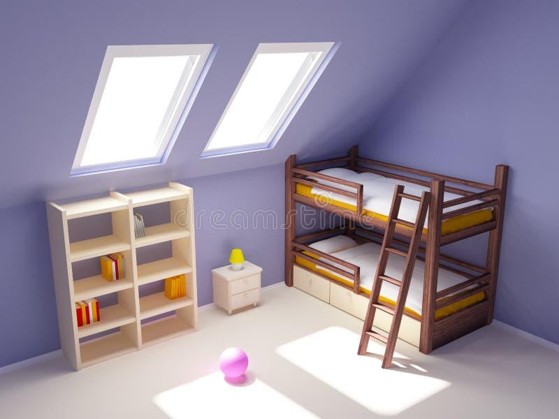 Sitio de niño en ático ilustración del vector