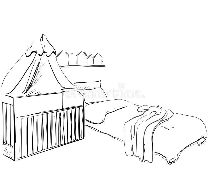 Sitio De Niños Bosquejo De Los Muebles Cama De Bebé Ilustración del ...