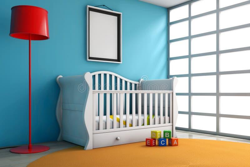 Sitio de niños con la cama, la lámpara y el marco en blanco de la foto fotos de archivo