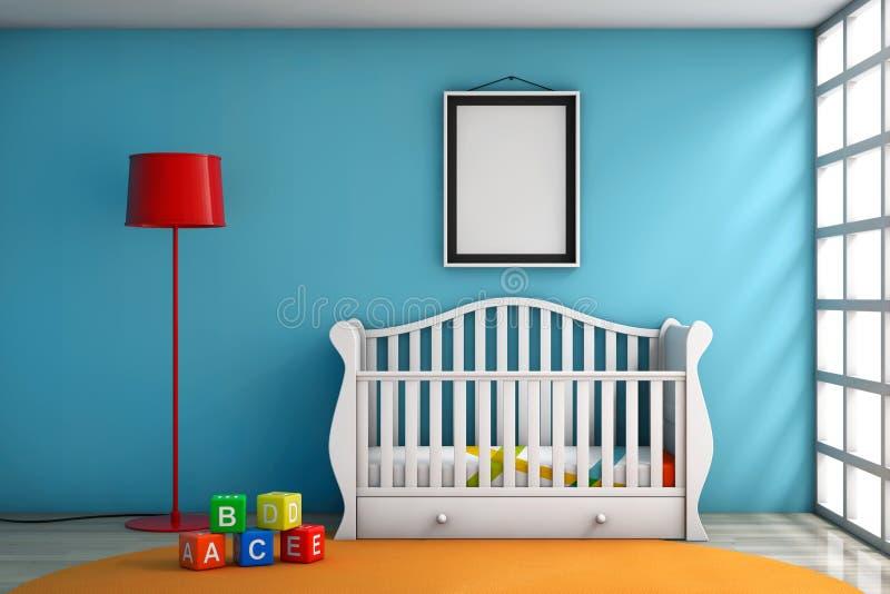 Sitio de niños con la cama, la lámpara y el marco en blanco de la foto fotografía de archivo