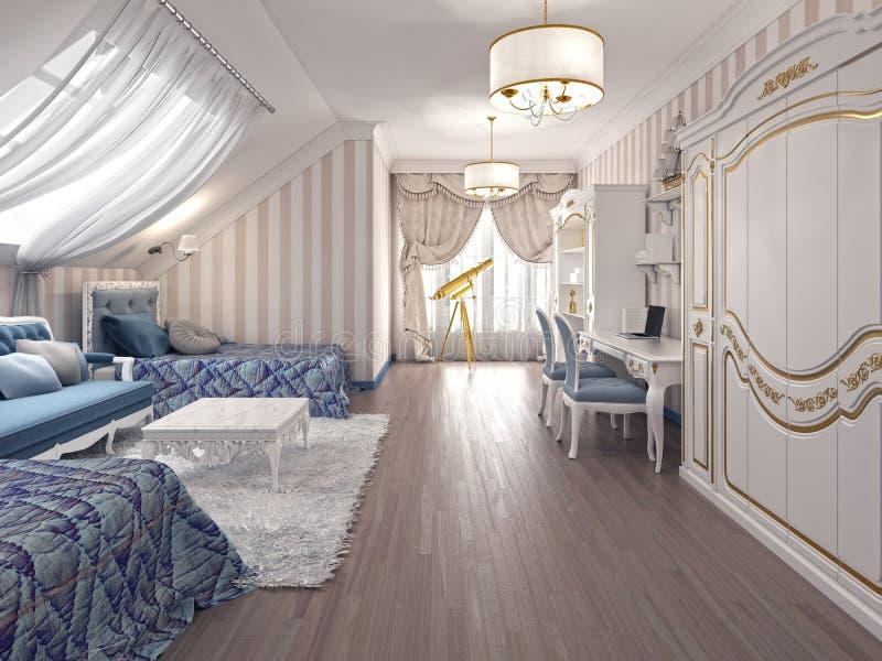 Sitio de niños de lujo en estilo clásico, con dos camas stock de ilustración