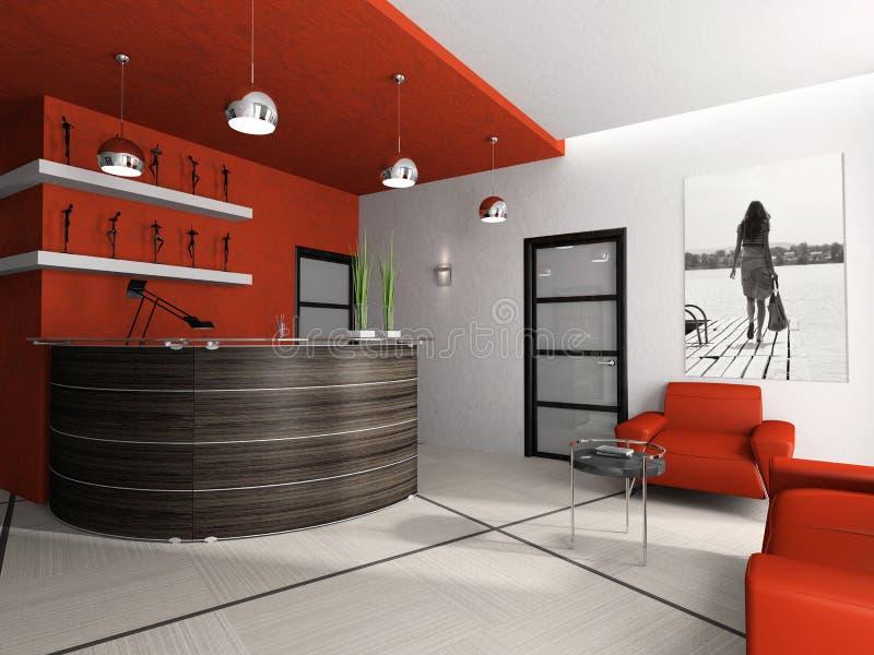 Sitio de recepción en la oficina 3D stock de ilustración