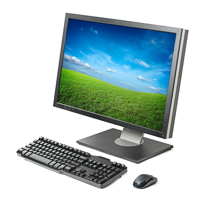 Sitio de trabajo del ordenador aislado imagenes de archivo