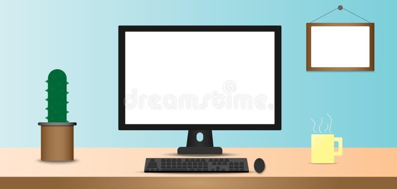 sitio de trabajo de oficina del escritorio stock de ilustración