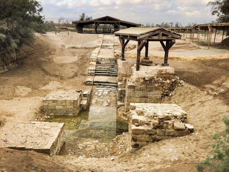 Sitio del bautismo, Jordania fotografía de archivo
