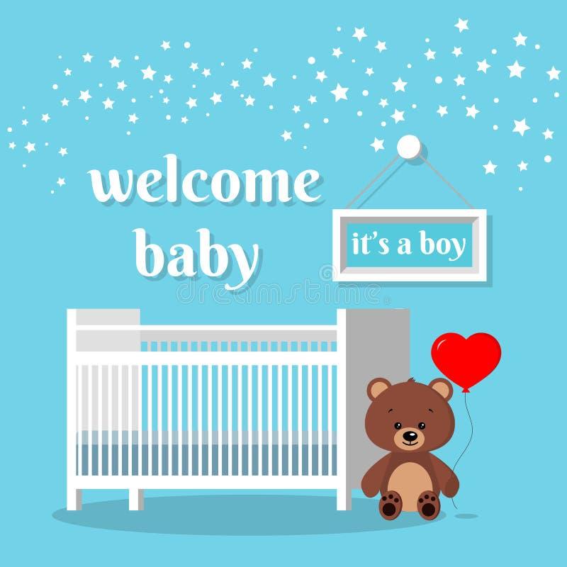 Sitio del bebé con la cama blanca, la muestra, las estrellas, el oso de peluche marrón con impulso rojo y palabras stock de ilustración