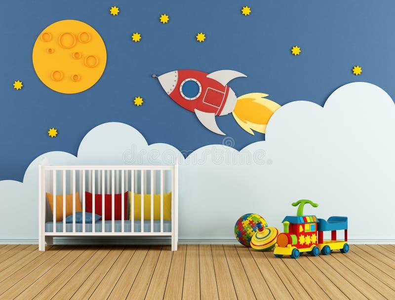 Sitio del bebé con la cuna ilustración del vector