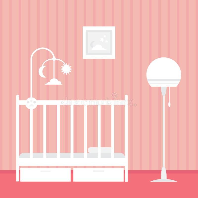 Sitio Del Bebé Con Muebles Interior Del Cuarto De Niños Ilustración ...