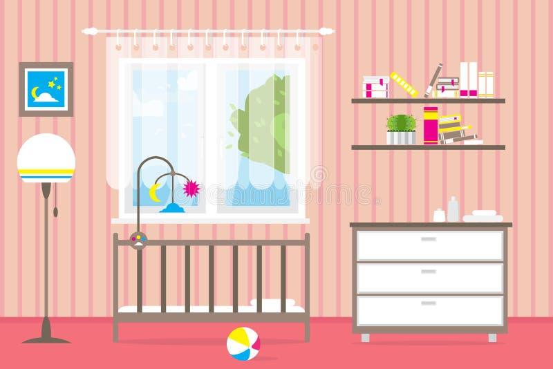 Sitio Del Bebé Con Muebles Interior Del Cuarto De Niños Ventana ...