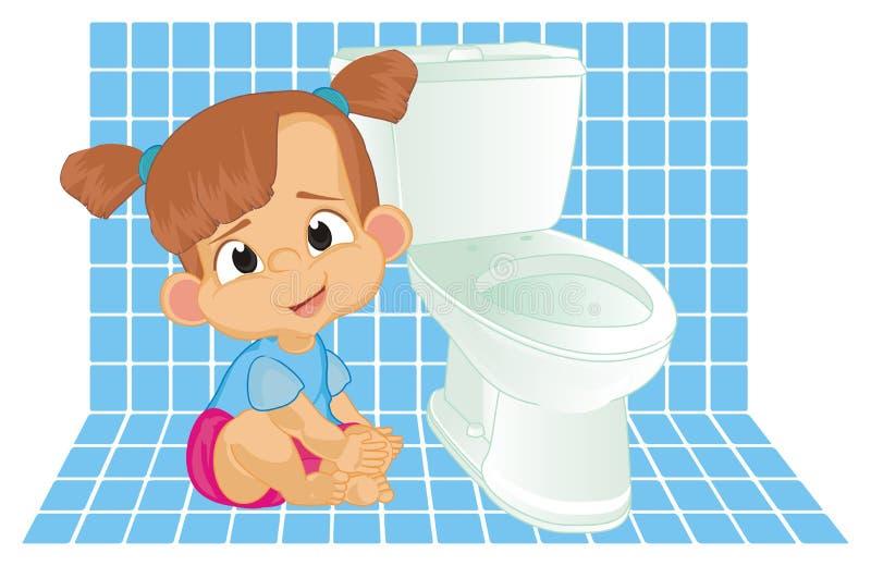 Sitio del bebé y del retrete ilustración del vector
