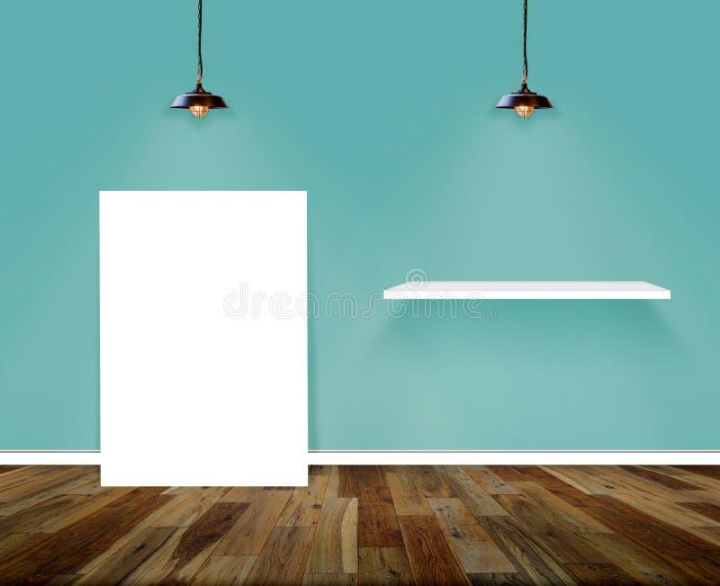 Sitio del cartel y del estante Pared y fondo de madera del interior del piso imagen de archivo libre de regalías