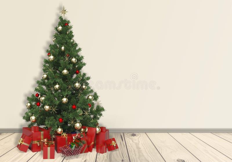 Sitio del día de fiesta con el árbol de navidad y los regalos imagen de archivo libre de regalías