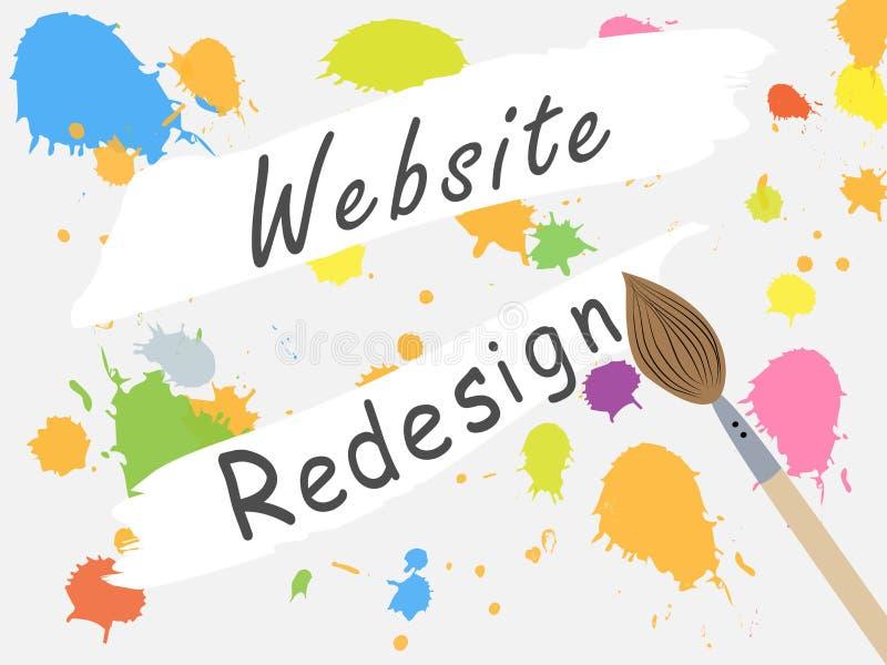 Sitio del diseño de la página cerrado para el reajuste Cambio del diseño del sitio Trabajo sobre el convertir del sitio stock de ilustración