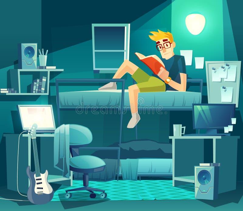 Sitio del dormitorio del vector en la noche Interior del estudiante ilustración del vector