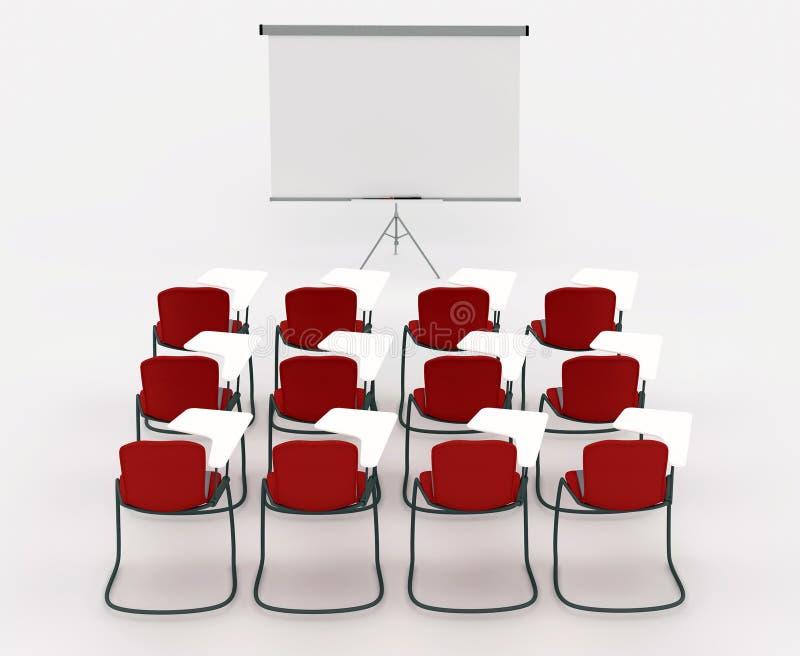 Sitio del entrenamiento con la tarjeta y las sillas de la etiqueta de plástico ilustración del vector