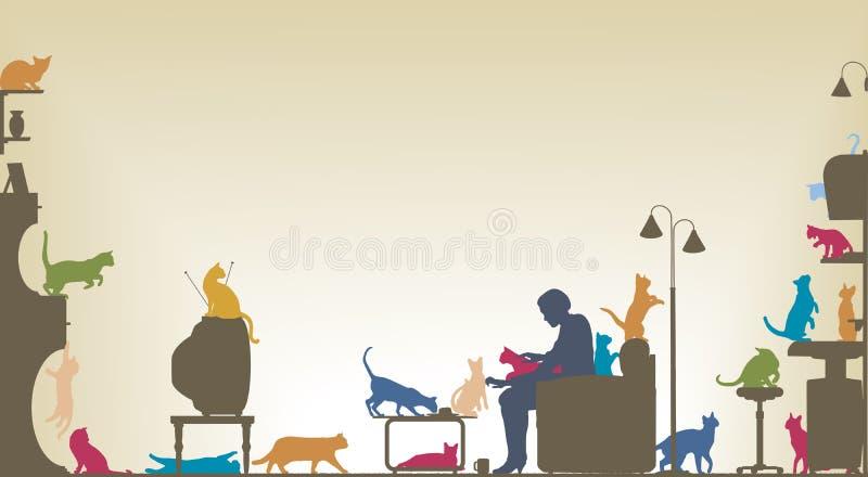 Sitio del gato stock de ilustración