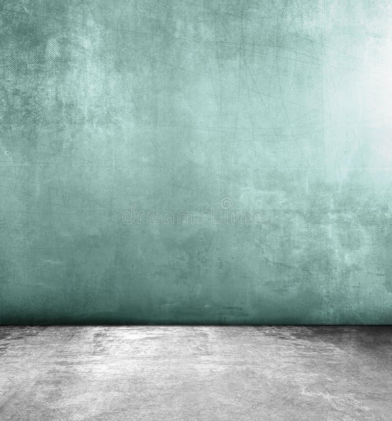Sitio del Grunge con el piso concreto gris y la pared verde libre illustration