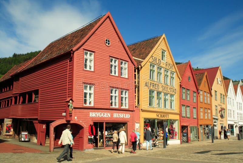 Sitio del patrimonio mundial, Bryggen en Bergen, Noruega fotografía de archivo libre de regalías